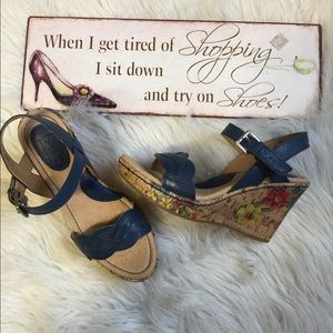 BOC blue floral cork sandals wedges 6